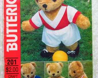17 inch Stuffed Bear and Sports Wardrobe Vintage Butterick Pattern 201 UNCUT FF