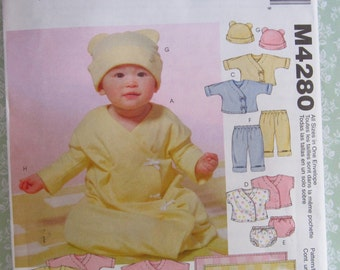 Infants Layette Sewing Pattern for Stretch Knits Only, Gown, Dress, Top, Pants and Blanket Sizes S M L XL McCalls Pattern M4280 UNCUT
