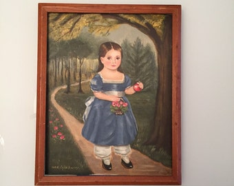 Contemporary Folk Art Painting / Vintage Oil on Board / Artist Signed Jane Eckelberry By Gatormom13