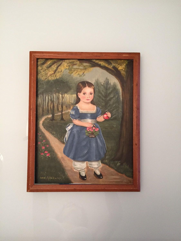 Contemporary Folk Art Painting Vintage Oil On Board Artist