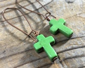 green howlite stone Cross antique copper kidney wire Earrings - gemstone  - long - women jewelry religion faith church god