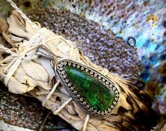 Nature Spirits- Green Fiery Guatemalan Opal Necklace