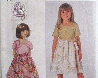Simplicity 9099 Sewing Pattern - Girl's Dressy Dress With Attached Shrug - Sizes 5-6-7-8, Breast 24 - 27, Uncut