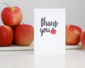 THANK YOU Teacher Card // Teacher Card with applique apple // Thank You apple // Teacher Thanks // Thank You Teacher //