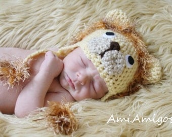 Crochet Little Lion Hat (Newborn)