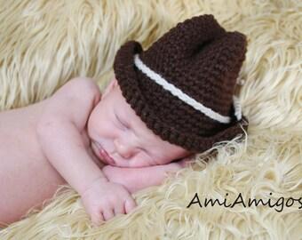 Crochet Cowboy Hat (Newborn)