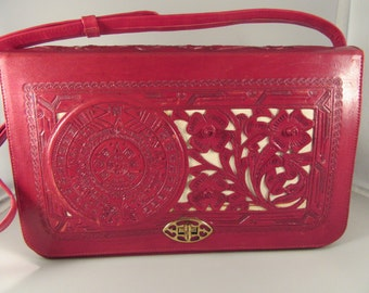 Vintage 1960s Red Tooled Leather Purse