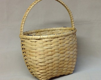 Hand Woven Basket, Oval, Unique Braided Handle Wrap