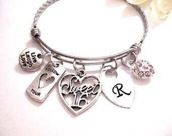 Super Sale Now Sweet 16 Gift, Sweet 16 Bracelet, Sweet 16 Jewelry, Birthday Bracelet, Sweet 16 Birthday Bracelet, Sweet 16 Birthday Jewelry