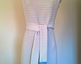 60's Blue and Tan Striped Shift Dress by Cady Carol