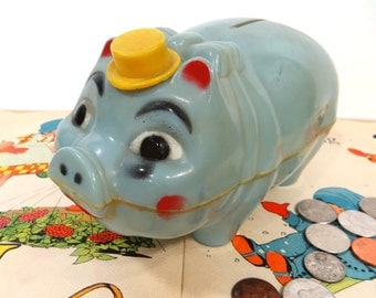 Vintage Blue Plastic Pig Bank, Tipping Hat Pig, Retro Kitschy Piggy Bank, Cork Stopper, Made by WesKo