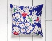 "On Sale! Blue and White Vintage Kimono Silk Fabric Print Pillow Cushion 'Bouquet' (12"" x 12"")"