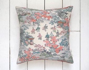 "Blush Blossom Japanese Vintage Kimono Silk Pillow Cushion 'Royal Box' (15"" x 15"")"