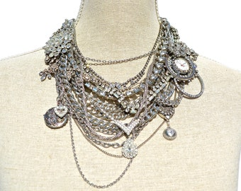 Statement Necklace, Antique Rhinestones, Bold Silver Jewelry by dabchickvintagegems on Etsy