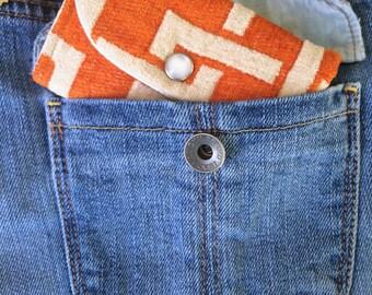 Keychain Wallet - Orange Fuzzy ID Card Holder Wallet for Women - Womens Credit Card Wallet - Slim Credit Card Wallet - ID Card Holder