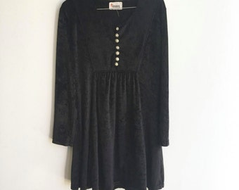 Vintage 90s Black Velvet Dress with Silver Crown Buttons, Long Sleeves, Mini Skirt,  Tie in Back