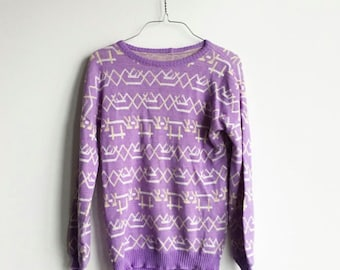 Vintage Purple Geometric Sweater, Knit Lavender Pullover, White and Gold Stripes