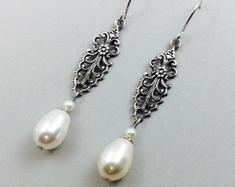 Pearl Earrings Vintage Style Silver Earrings With Filigree Connectors And White Swarovski Teardrop Pearls
