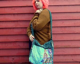 Vintage Guatemalan Ecuadorian Patchwork Embroidered Ikat Shoulder Bag Ethnic Hippie Boho Bag