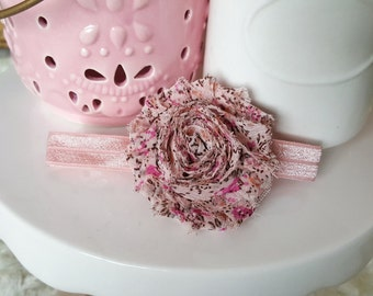 Dusty Pink Floral Shabby Chic Headband, baby headband, infant headband, baby girl headband, flower headband, flower bow, baby bow