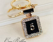 Alloy Gold Black Rhinestone Enamel Perfume Parfum Bottle Fashion Pendant Charm Key Chain Ring Keychain