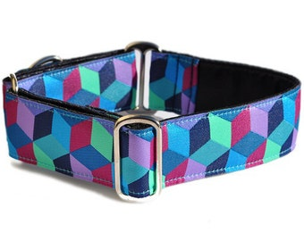 Martingale Dog Collar or Buckle Dog Collar - Blocks Jacquard - 1.5 Inch
