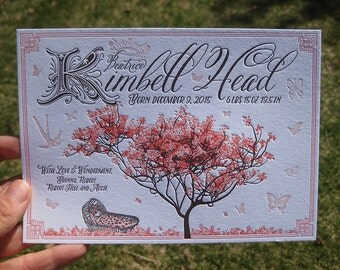 Cherry Blossom in Spring Letterpress Birth Announcements