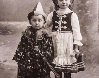 Antique Photo Boy and Girl, Halloween Costumes, Clown, Digital Download Photo, Vintage Ephemera, 1900's