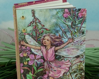 Vintage Wayside Fairy Cover on Petite Stitched Pink and Green Writing Journal