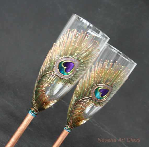 COPPER Peacock Feathers Wedding Toasting Champagne Flutes Hand Painted,set of 2 Great Wedding Gift