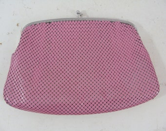 SALE - Vintage Clutch - Whiting and Davis Metal Mesh Clutch - Pink Chainmail Bag