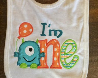 I'm ONE Monster Birthday Bib