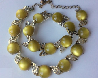 Yellow Green Moonglow Bracelet and Necklace - 1950s
