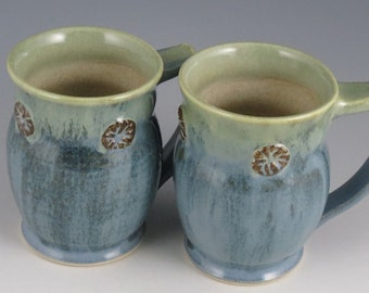 Coffee or Tea Mug in soft blues and greens, K cup