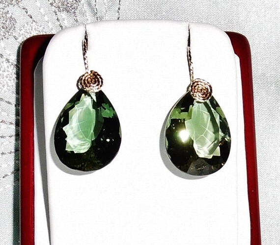 GENUINE 40cts Green Amethyst gemstones, 14kt yellow gold Pierced Earrings