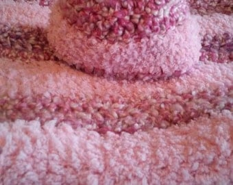 Crochet Baby Blanket and Beanie Set In Pink and Fuchsia Stripes