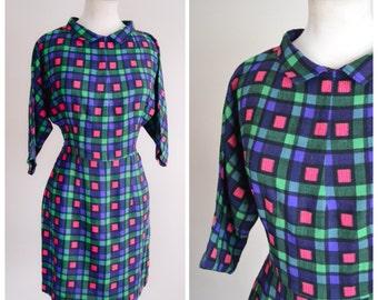 1960s Dolman sleeve blue pink green day dress / 60s straight skirt mini dress - S