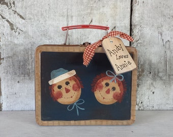 Raggedy Ann and Andy on Vintage Tin Lunch Box, Primitive Raggedy Ann & Andy, Country Painted Raggedy Ann, Primitive Decor, Country Decor