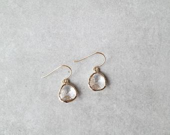 Samantha Earrings - Gold/Clear