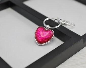 Strawberry Glitter Keychain, Heart Keychain, Glitter Keychain, Strawberry Keychain, Pink Keychain, Dark Pink, Key Ring, Key Fob, Gift Idea
