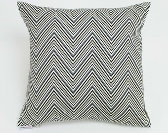 Chevron Zig Zag Black, Gray, White, Ivory Throw Pillow Cover