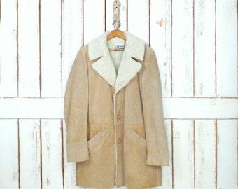 Mens vintage tan faux shearling/sheepskin suede leather winter jacket/winter plush fur lined coat