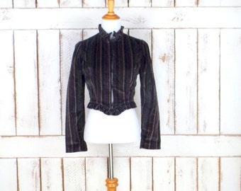 Vintage black striped Victorian style fitted velvet blazer/black striped tailored cropped jacket /goth/steampunk high collar jacket