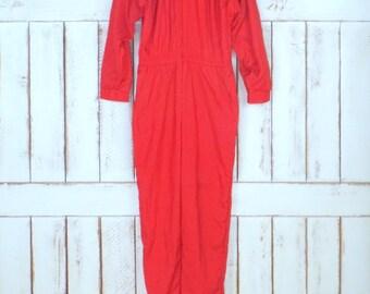 Vintage Saint Germain II Paris red nylon long sleeve jumpsuit/red jumper/red nylon romper