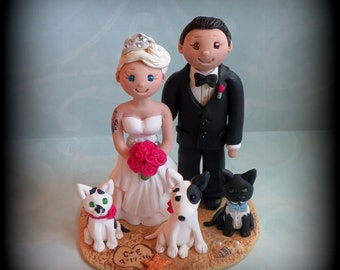 Wedding Cake Topper, Custom Cake Topper, Bride and Groom with Pets, Beach Theme, Personalized, Polymer Clay, Keepsake