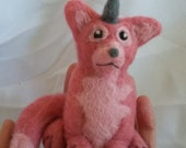 SALE !! Pink Horned fox needle felted creature