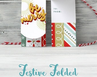 Festive Folded Christmas Gift Tags - Holiday Wrap - Snowflake Pattern - Brushed Script - Christmas Packaging - Typographical Paper Tags