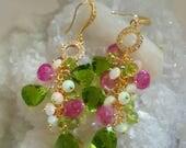 15% Off Sale Peridot Quartz Ethiopian Opal Pink Topaz Linear Cluster Earrings Bridal Earrings Diamond Pave Gold Earrings