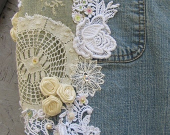 Embellished Lace & Beaded Boho Jeans Customized Gypsy Pants Sz 14 French Cut Hippie Style
