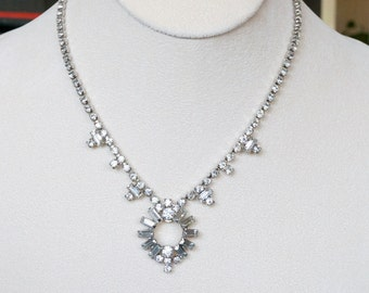 JAY FLEX Sterling Silver Rhinestone Bridal Necklace Set with Earrings